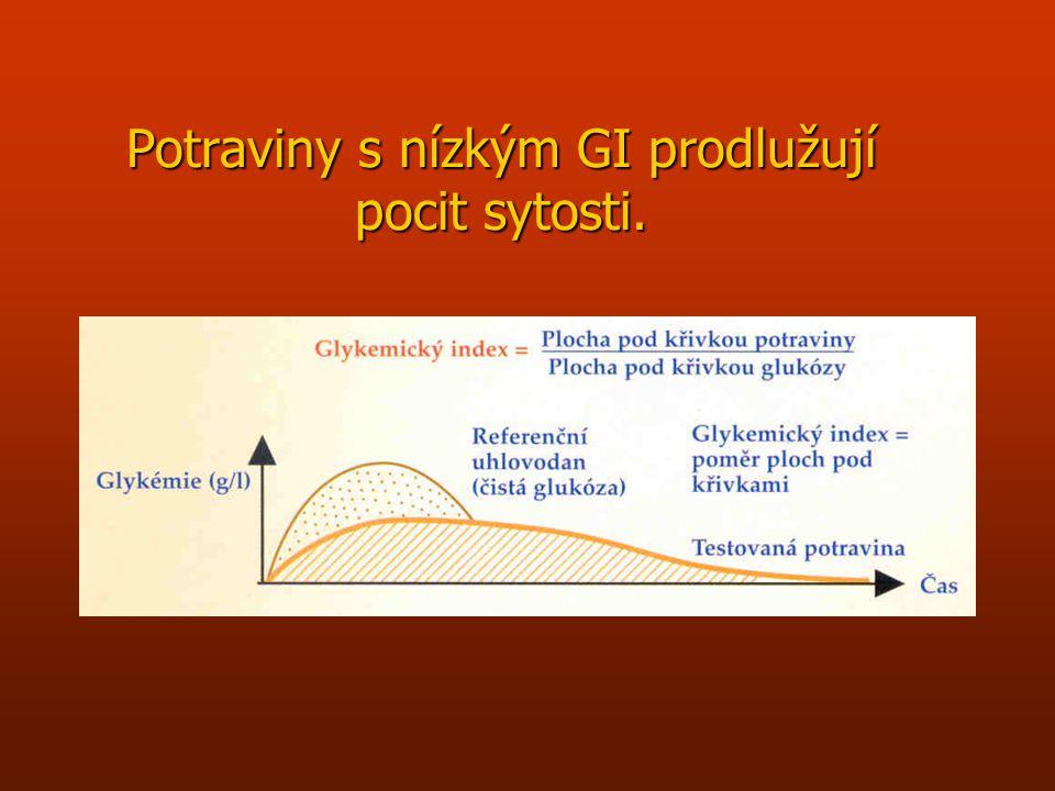 Glykemický index n Hodnocení změny hladiny cukru v krvi po příjmu potravin obsahujících škrob. n Vypočítává se jako poměr hodnoty glykémie za 2 hodiny