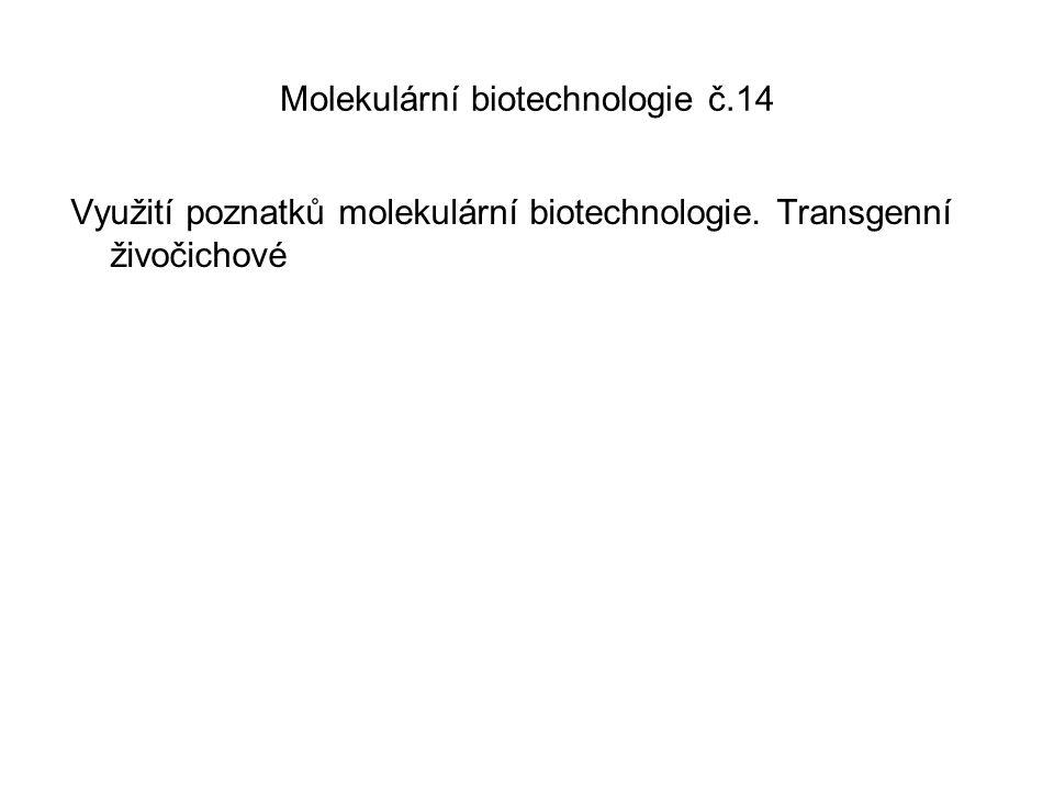 Molekulární biotechnologie č.14 Využití poznatků molekulární biotechnologie. Transgenní živočichové