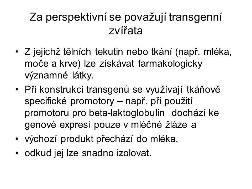 Za perspektivní se považují transgenní zvířata Z jejichž tělních tekutin nebo tkání (např. mléka, moče a krve) lze získávat farmakologicky významné lá