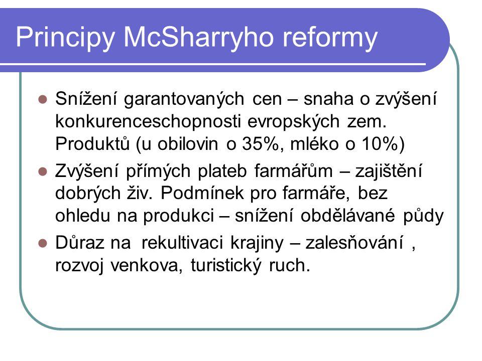 Principy McSharryho reformy Snížení garantovaných cen – snaha o zvýšení konkurenceschopnosti evropských zem. Produktů (u obilovin o 35%, mléko o 10%)