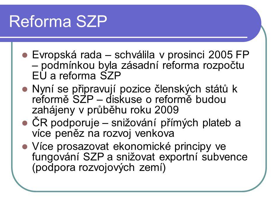 Reforma SZP Evropská rada – schválila v prosinci 2005 FP – podmínkou byla zásadní reforma rozpočtu EU a reforma SZP Nyní se připravují pozice členských států k reformě SZP – diskuse o reformě budou zahájeny v průběhu roku 2009 ČR podporuje – snižování přímých plateb a více peněz na rozvoj venkova Více prosazovat ekonomické principy ve fungování SZP a snižovat exportní subvence (podpora rozvojových zemí)