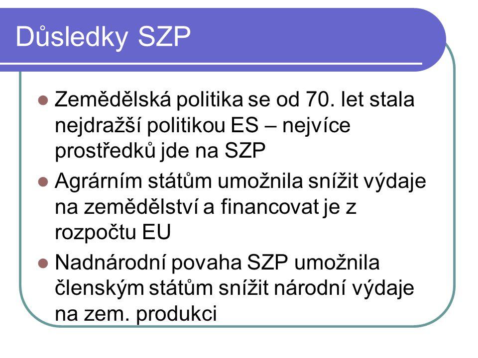 Důsledky SZP Zemědělská politika se od 70.