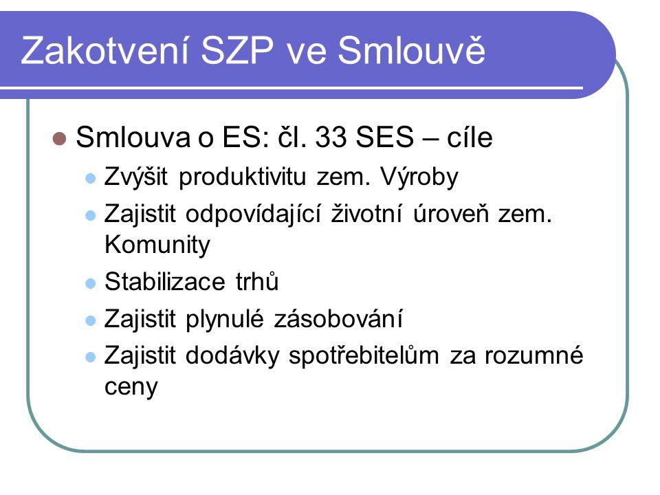 Zakotvení SZP ve Smlouvě Smlouva o ES: čl. 33 SES – cíle Zvýšit produktivitu zem. Výroby Zajistit odpovídající životní úroveň zem. Komunity Stabilizac