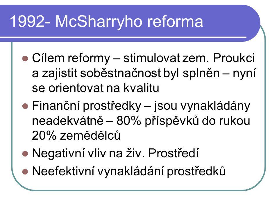 1992- McSharryho reforma Cílem reformy – stimulovat zem. Proukci a zajistit soběstnačnost byl splněn – nyní se orientovat na kvalitu Finanční prostřed