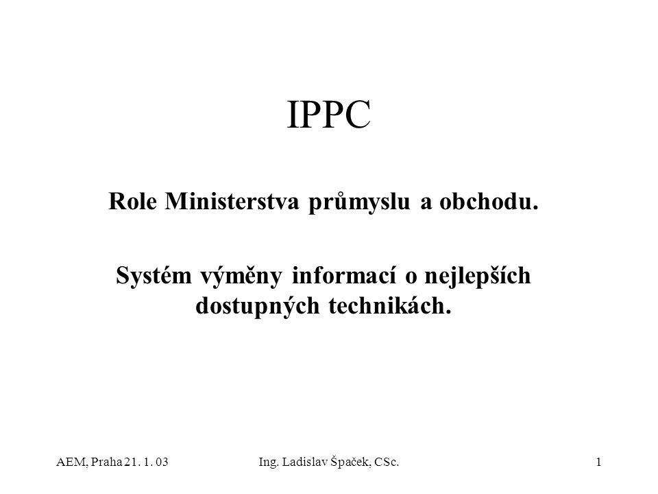 AEM, Praha 21. 1. 03Ing. Ladislav Špaček, CSc.1 IPPC Role Ministerstva průmyslu a obchodu.