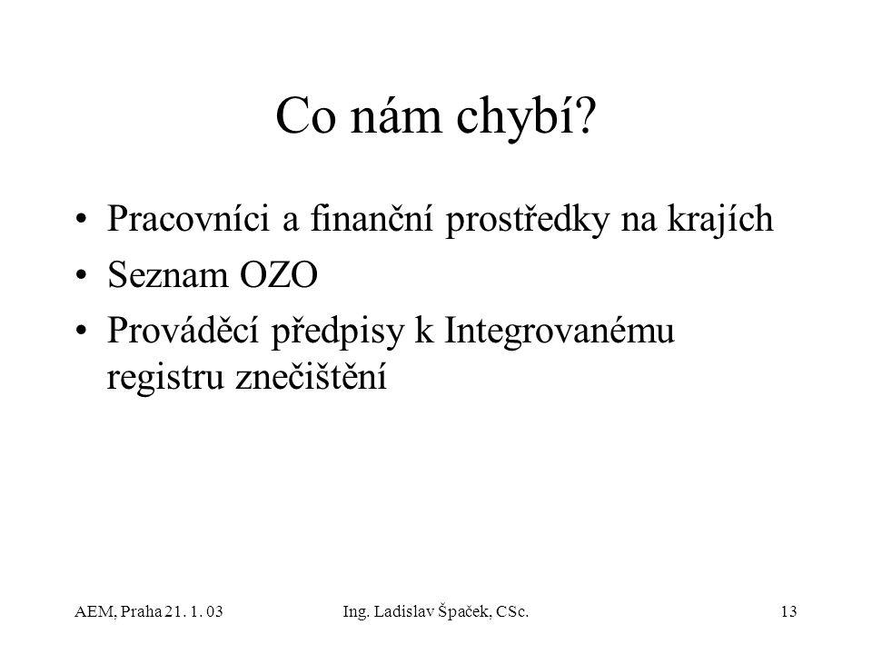 AEM, Praha 21. 1. 03Ing. Ladislav Špaček, CSc.13 Co nám chybí.