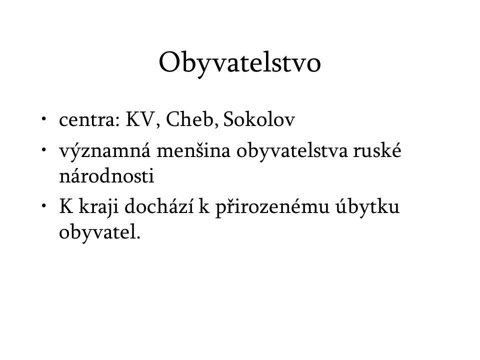 Obyvatelstvo centra: KV, Cheb, Sokolov významná menšina obyvatelstva ruské národnosti K kraji dochází k přirozenému úbytku obyvatel.