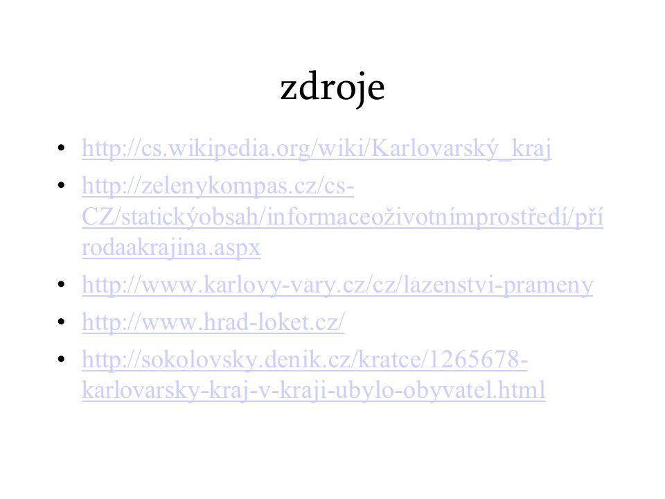 zdroje http://cs.wikipedia.org/wiki/Karlovarský_kraj http://zelenykompas.cz/cs- CZ/statickýobsah/informaceoživotnímprostředí/pří rodaakrajina.aspxhttp