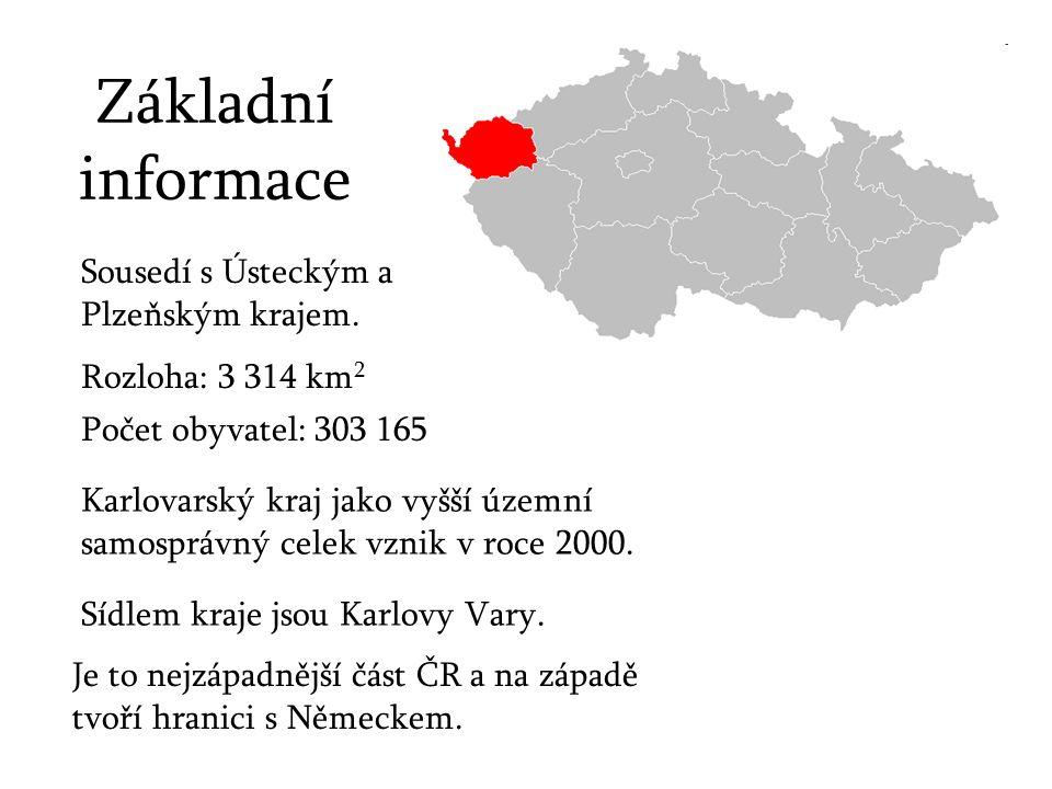 Základní informace Sousedí s Ústeckým a Plzeňským krajem. Rozloha: 3 314 km 2 Počet obyvatel: 303 165 Karlovarský kraj jako vyšší územní samosprávný c