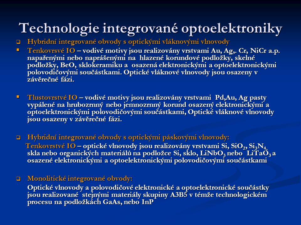 Technologie integrované optoelektroniky  Hybridní integrované obvody s optickými vláknovými vlnovody  Tenkovrsvé IO – vodivé motivy jsou realizovány vrstvami Au, Ag,.