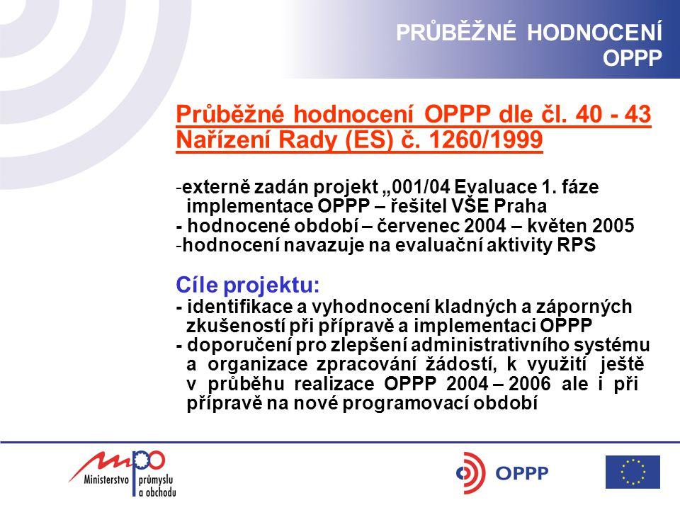Průběžné hodnocení OPPP dle čl. 40 - 43 Nařízení Rady (ES) č.