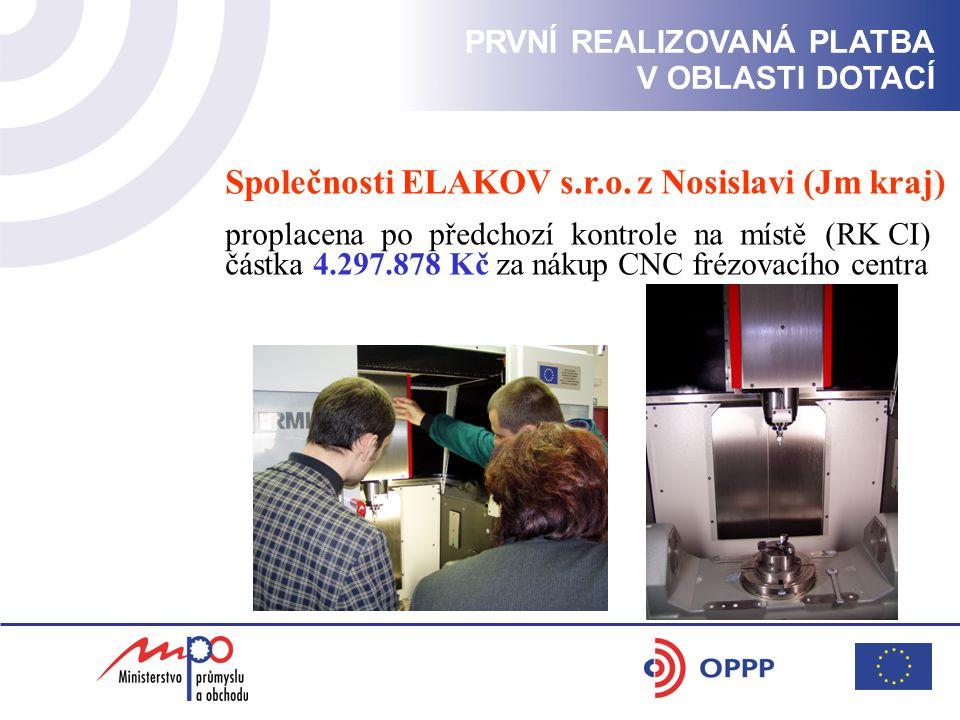 PRVNÍ REALIZOVANÁ PLATBA V OBLASTI DOTACÍ Společnosti ELAKOV s.r.o.