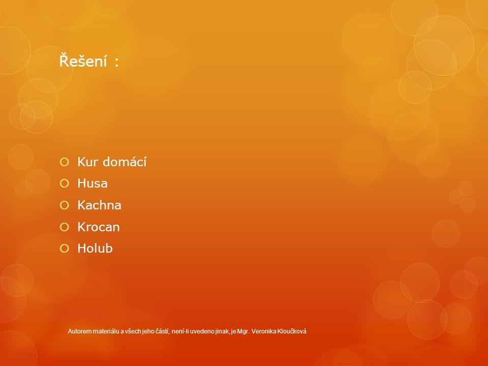 Řešení :  Kur domácí  Husa  Kachna  Krocan  Holub Autorem materiálu a všech jeho částí, není-li uvedeno jinak, je Mgr.