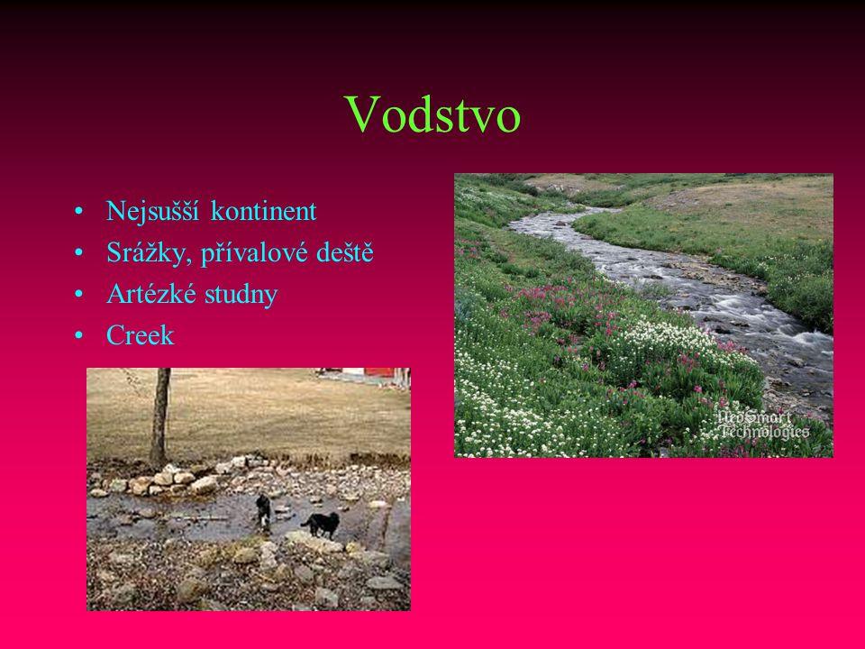 Vodstvo Nejsušší kontinent Srážky, přívalové deště Artézké studny Creek
