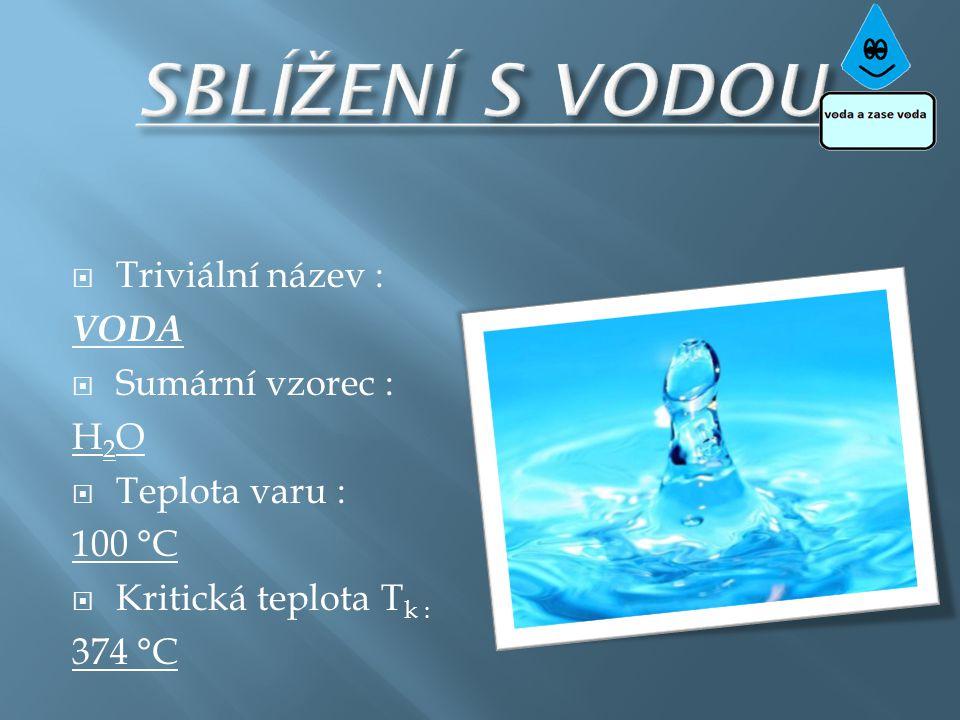  Triviální název : VODA  Sumární vzorec : H 2 O  Teplota varu : 100 °C  Kritická teplota T k : 374 °C