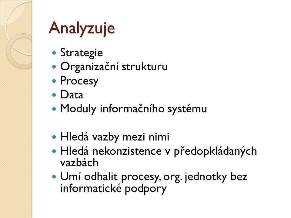 Analyzuje Strategie Organizační strukturu Procesy Data Moduly informačního systému Hledá vazby mezi nimi Hledá nekonzistence v předopkládaných vazbách