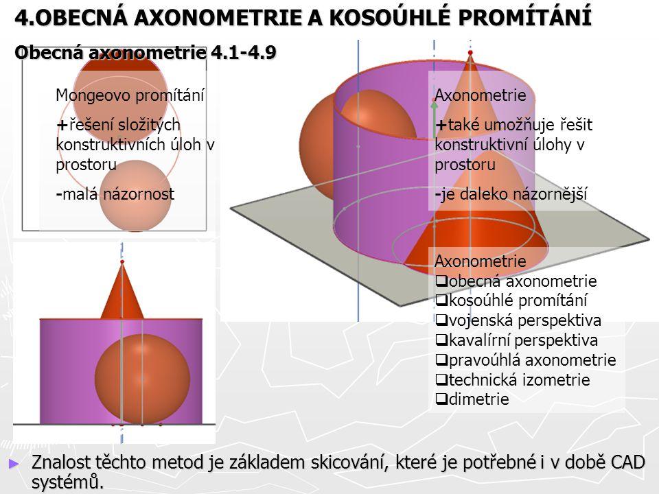► Znalost těchto metod je základem skicování, které je potřebné i v době CAD systémů. Mongeovo promítání +řešení složitých konstruktivních úloh v pros