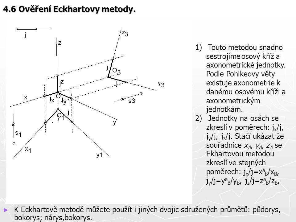 4.6 Ověření Eckhartovy metody. ► K Eckhartově metodě můžete použít i jiných dvojic sdružených průmětů: půdorys, bokorys; nárys,bokorys. 1) Touto metod