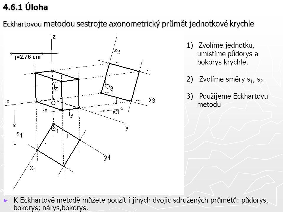 4.6.1 Úloha Eckhartovou metodou sestrojte axonometrický průmět jednotkové krychle ► K Eckhartově metodě můžete použít i jiných dvojic sdružených průmě