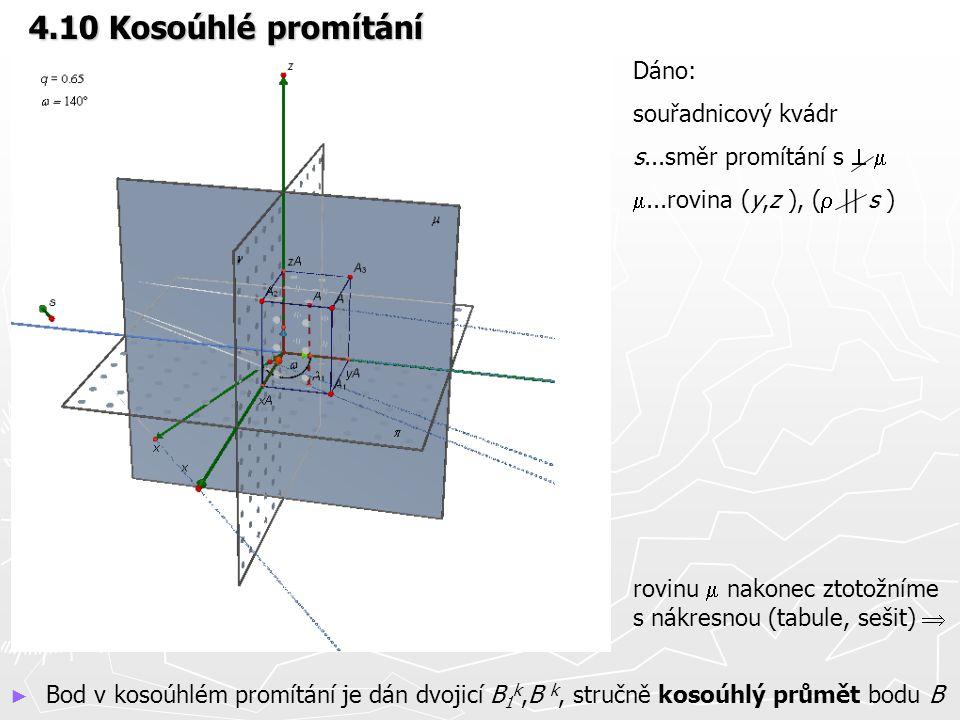 4.10 Kosoúhlé promítání Dáno: souřadnicový kvádr s...směr promítání s   ...rovina (y,z ), (  || s ) rovinu  nakonec ztotožníme s nákresnou (tabul