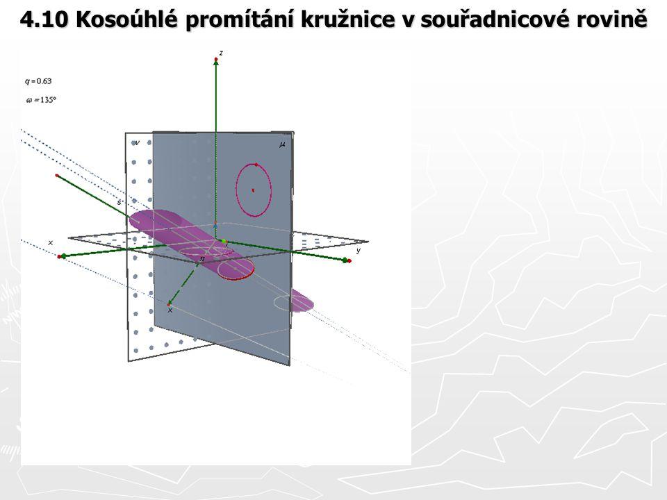 4.10 Kosoúhlé promítání kružnice v souřadnicové rovině