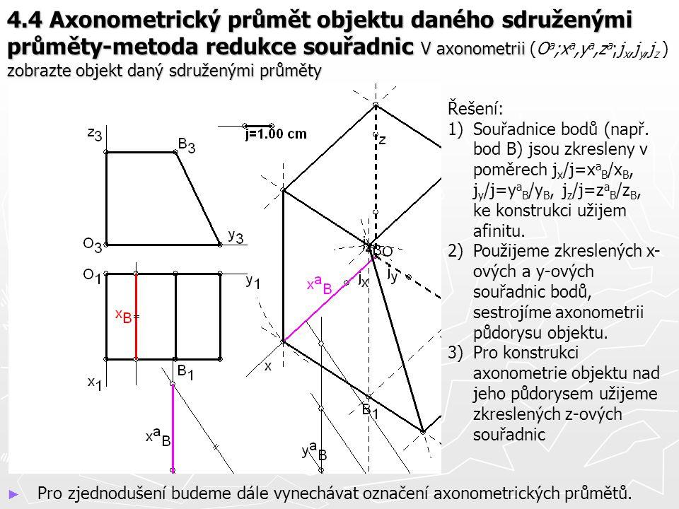 4.4 Axonometrický průmět objektu daného sdruženými průměty-metoda redukce souřadnic V axonometrii zobrazte objekt daný sdruženými průměty 4.4 Axonomet