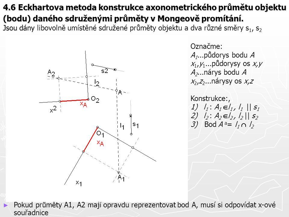 4.6 Eckhartova metoda konstrukce axonometrického průmětu objektu (bodu) daného sdruženými průměty v Mongeově promítání. Jsou dány 4.6 Eckhartova metod