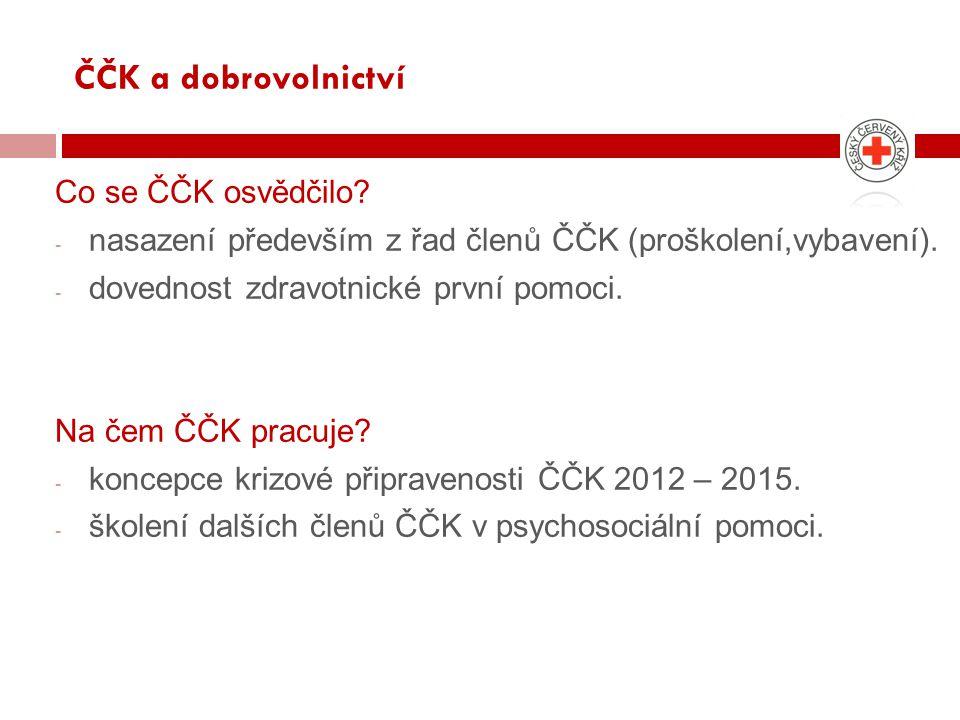ČČK a dobrovolnictví Co se ČČK osvědčilo.