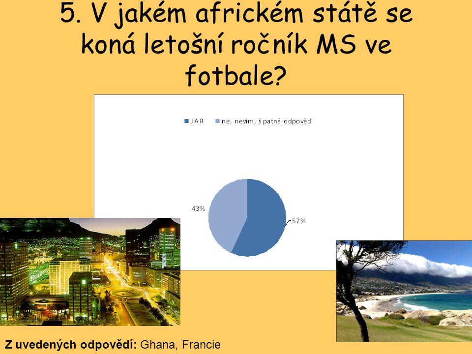 5.V jakém africkém státě se koná letošní ročník MS ve fotbale.