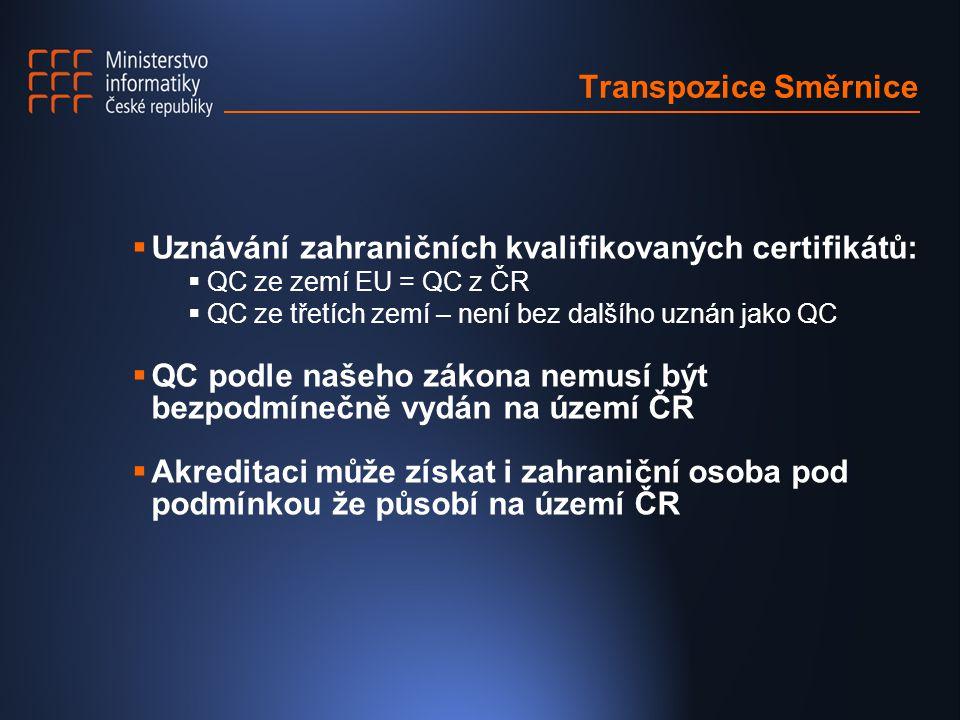 Transpozice Směrnice  Uznávání zahraničních kvalifikovaných certifikátů:  QC ze zemí EU = QC z ČR  QC ze třetích zemí – není bez dalšího uznán jako