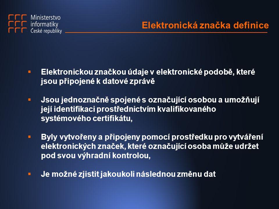 Elektronická značka definice  Elektronickou značkou údaje v elektronické podobě, které jsou připojené k datové zprávě  Jsou jednoznačně spojené s oz