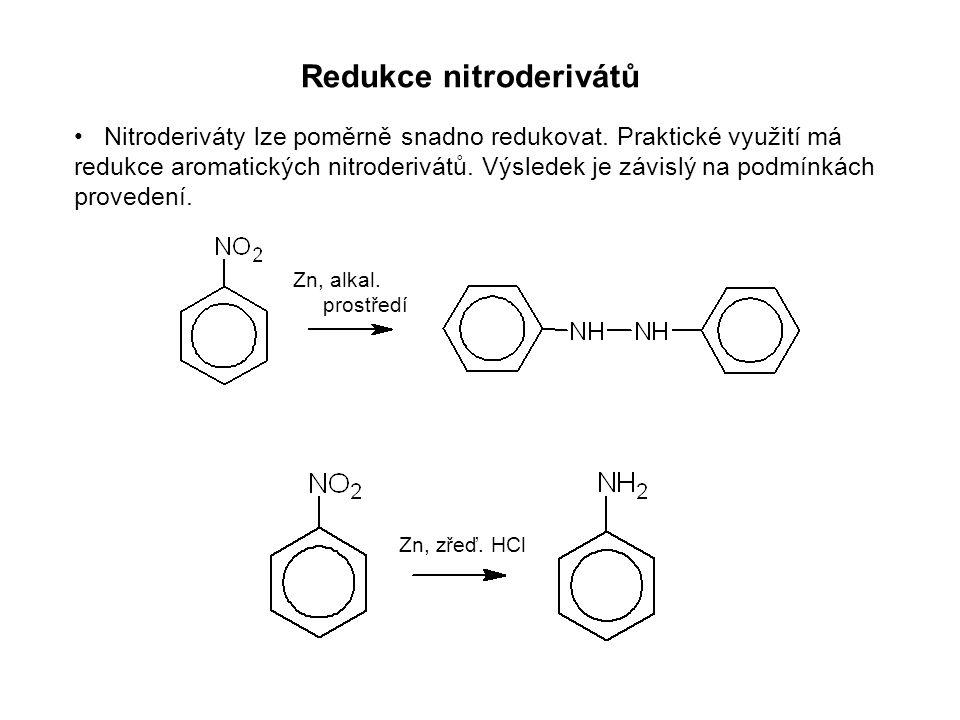 Zástupci nitroderivátů Nitromethan CH 3 NO 2 a nitroethan CH 3 CH 2 NO 2 Nitrobenzen Používají se jako dobrá organická rozpouštědla.