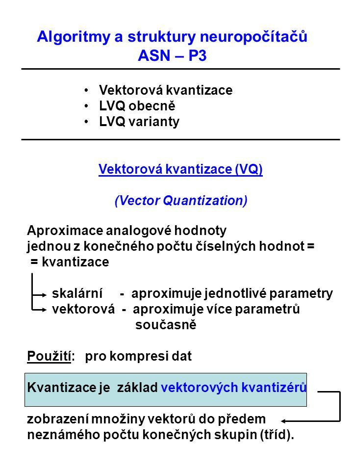 Vektorová kvantizace (VQ) (Vector Quantization) Aproximace analogové hodnoty jednou z konečného počtu číselných hodnot = = kvantizace skalární - aprox