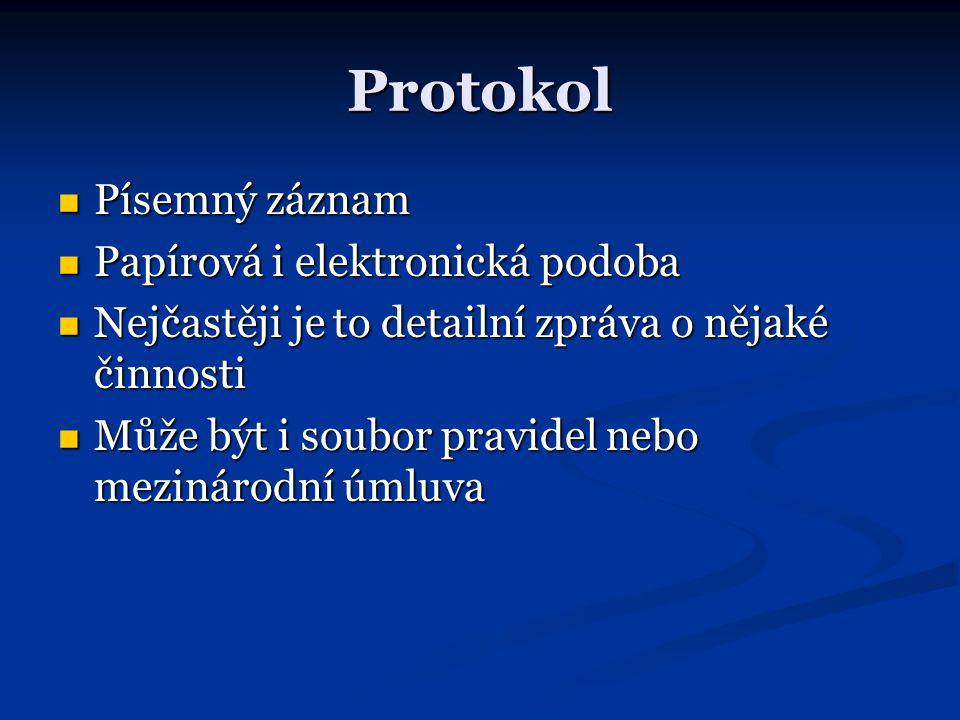 Protokol Písemný záznam Písemný záznam Papírová i elektronická podoba Papírová i elektronická podoba Nejčastěji je to detailní zpráva o nějaké činnost