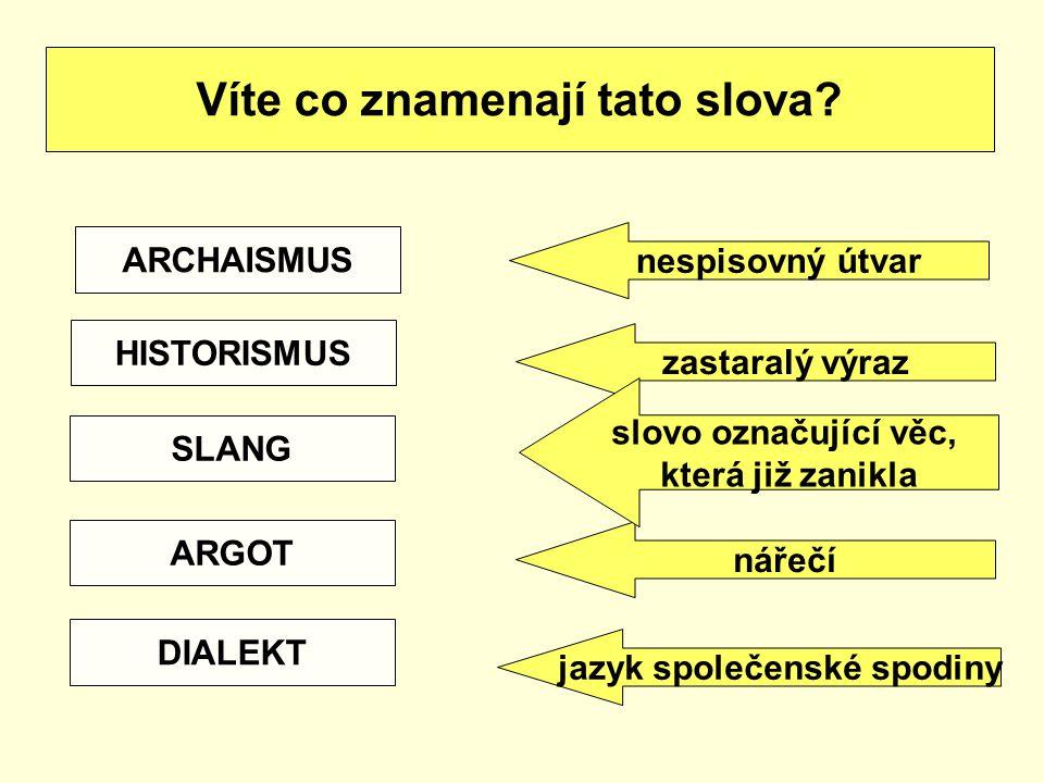 Víte co znamenají tato slova? ARCHAISMUS HISTORISMUS SLANG ARGOT DIALEKT nářečí zastaralý výraz slovo označující věc, která již zanikla nespisovný útv