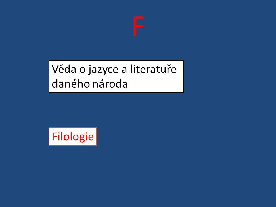 F Věda o jazyce a literatuře daného národa Filologie