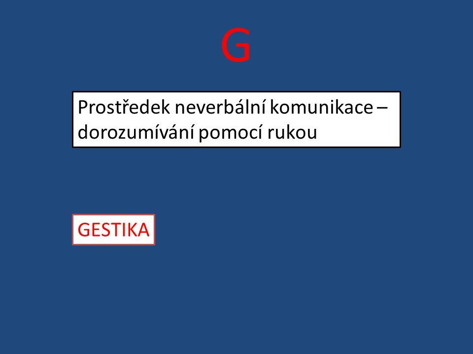 G Prostředek neverbální komunikace – dorozumívání pomocí rukou GESTIKA