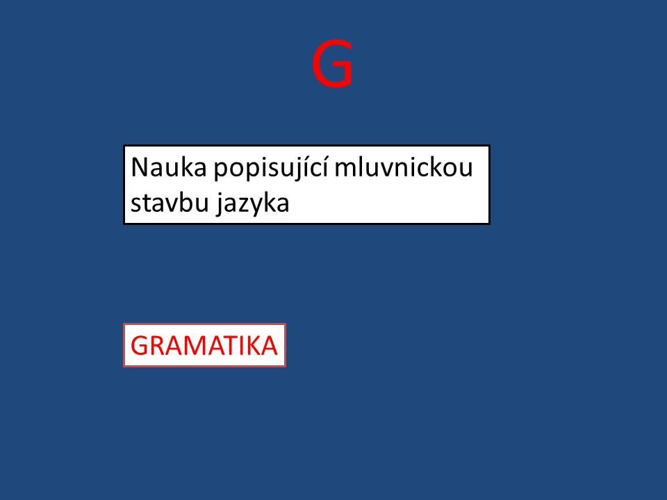 G Nauka popisující mluvnickou stavbu jazyka GRAMATIKA