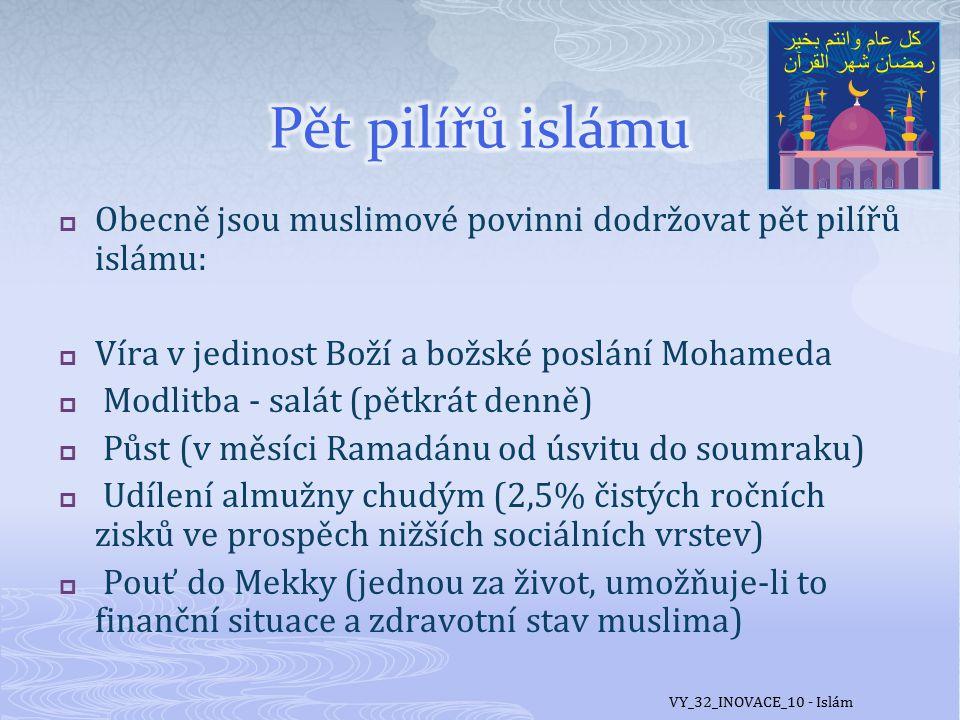  Základní knihou islámu je Korán  veršovaná sbírka božích sdělení věřícím, kterou podle muslimů Mohamedovi nadiktoval prostřednictvím archanděla Gabriela sám Bůh VY_32_INOVACE_10 - Islám