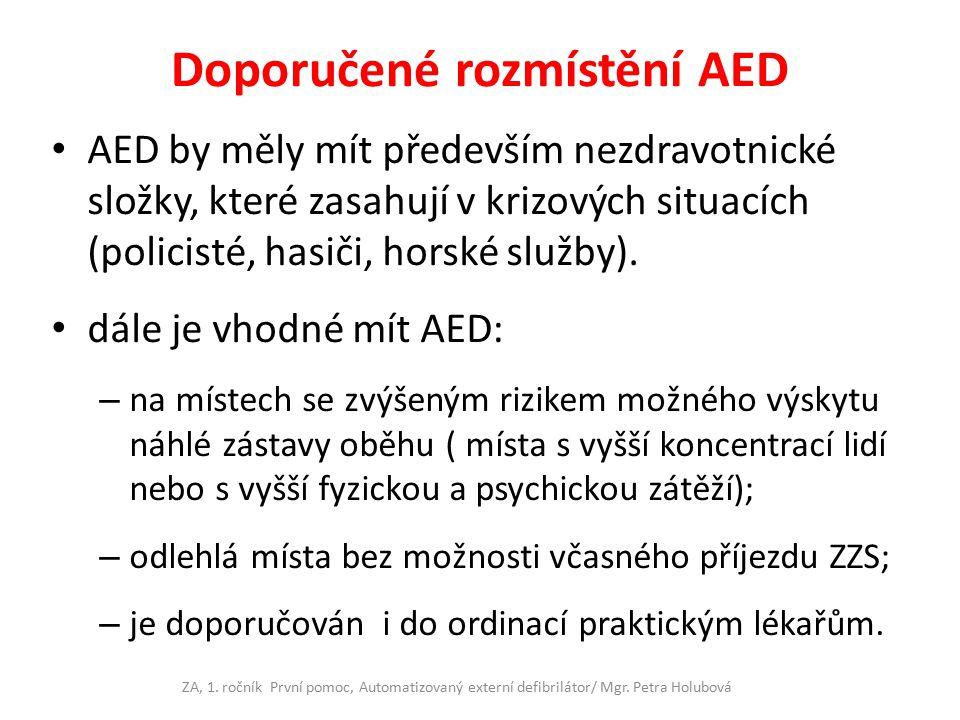 Doporučené rozmístění AED AED by měly mít především nezdravotnické složky, které zasahují v krizových situacích (policisté, hasiči, horské služby). dá