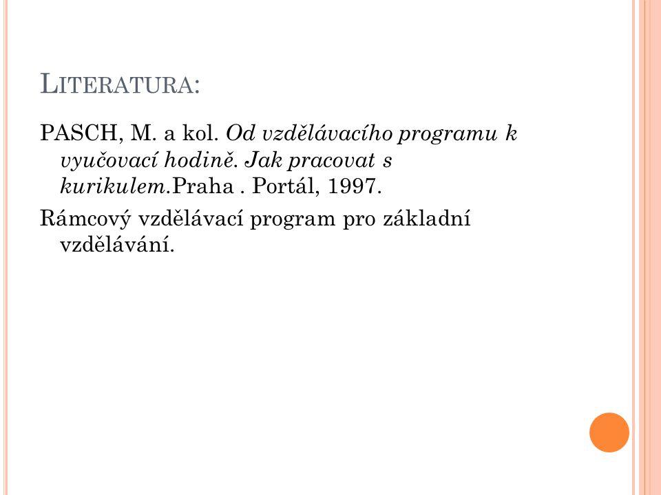 L ITERATURA : PASCH, M.a kol. Od vzdělávacího programu k vyučovací hodině.