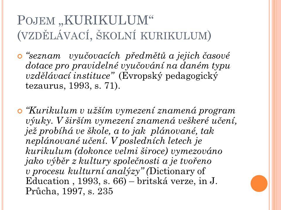 """P OJEM """"KURIKULUM ( VZDĚLÁVACÍ, ŠKOLNÍ KURIKULUM ) seznam vyučovacích předmětů a jejich časové dotace pro pravidelné vyučování na daném typu vzdělávací instituce (Evropský pedagogický tezaurus, 1993, s."""