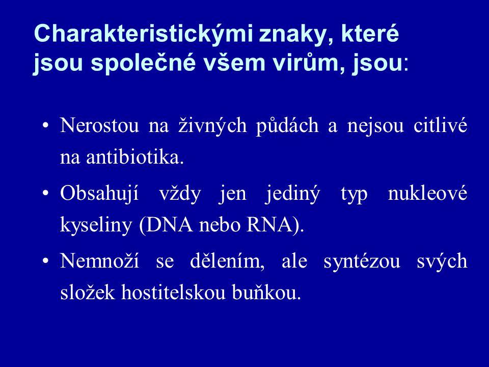 Charakteristickými znaky, které jsou společné všem virům, jsou: Nerostou na živných půdách a nejsou citlivé na antibiotika.