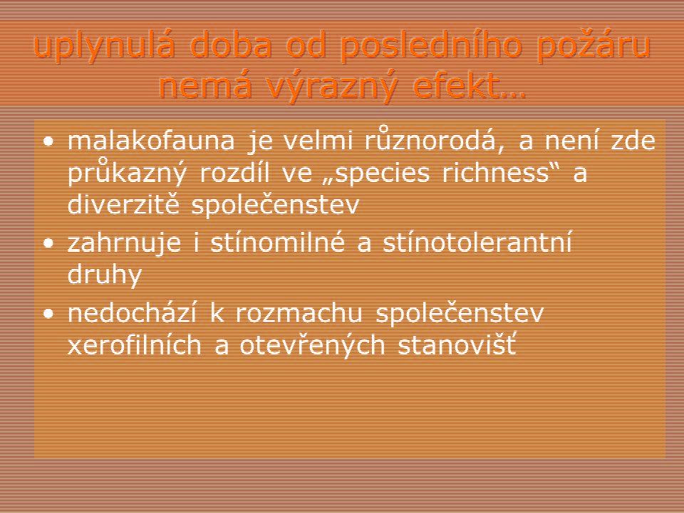 """malakofauna je velmi různorodá, a není zde průkazný rozdíl ve """"species richness a diverzitě společenstev zahrnuje i stínomilné a stínotolerantní druhy nedochází k rozmachu společenstev xerofilních a otevřených stanovišť"""