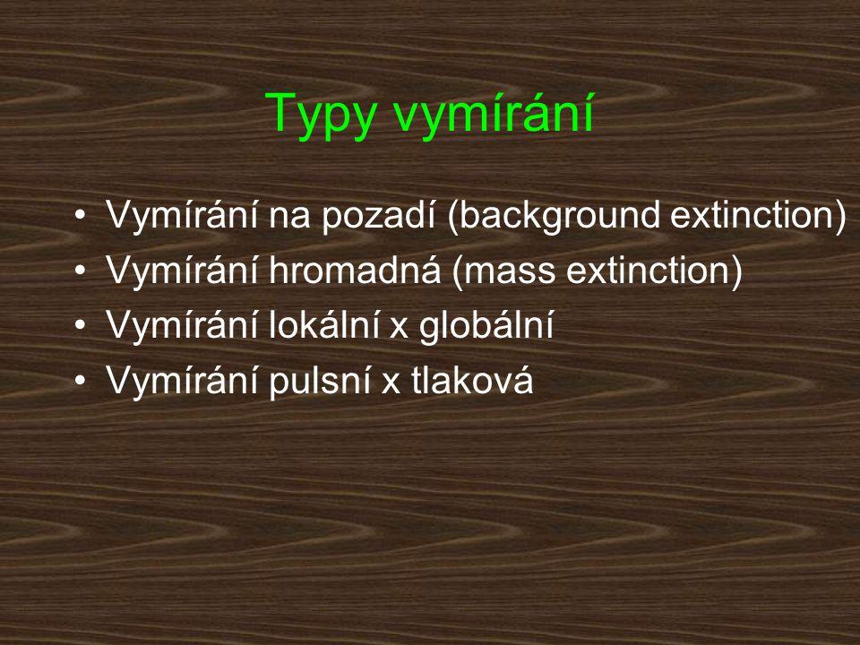 Typy vymírání Vymírání na pozadí (background extinction) Vymírání hromadná (mass extinction) Vymírání lokální x globální Vymírání pulsní x tlaková