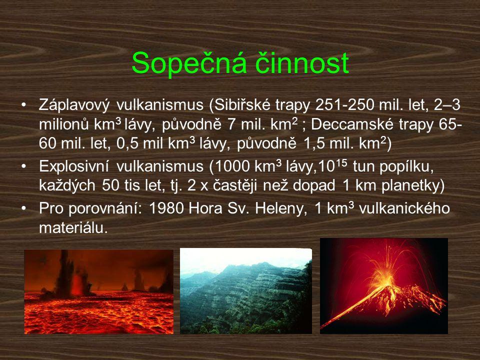 Sopečná činnost Záplavový vulkanismus (Sibiřské trapy 251-250 mil. let, 2–3 milionů km 3 lávy, původně 7 mil. km 2 ; Deccamské trapy 65- 60 mil. let,