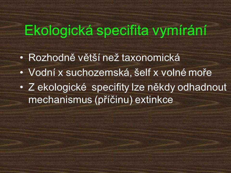 Ekologická specifita vymírání Rozhodně větší než taxonomická Vodní x suchozemská, šelf x volné moře Z ekologické specifity lze někdy odhadnout mechani
