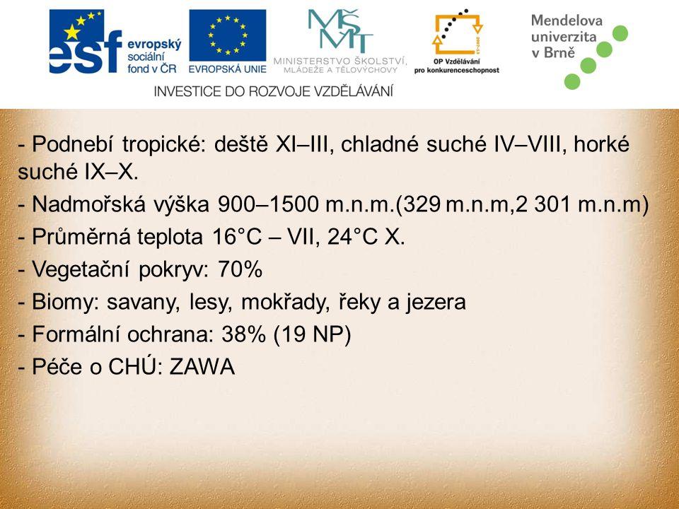 - Podnebí tropické: deště XI–III, chladné suché IV–VIII, horké suché IX–X.