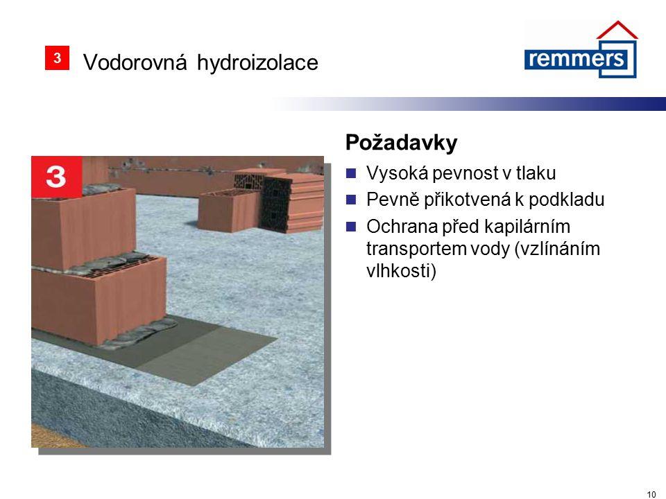 Vodorovná hydroizolace Požadavky Vysoká pevnost v tlaku Pevně přikotvená k podkladu Ochrana před kapilárním transportem vody (vzlínáním vlhkosti) 10 3