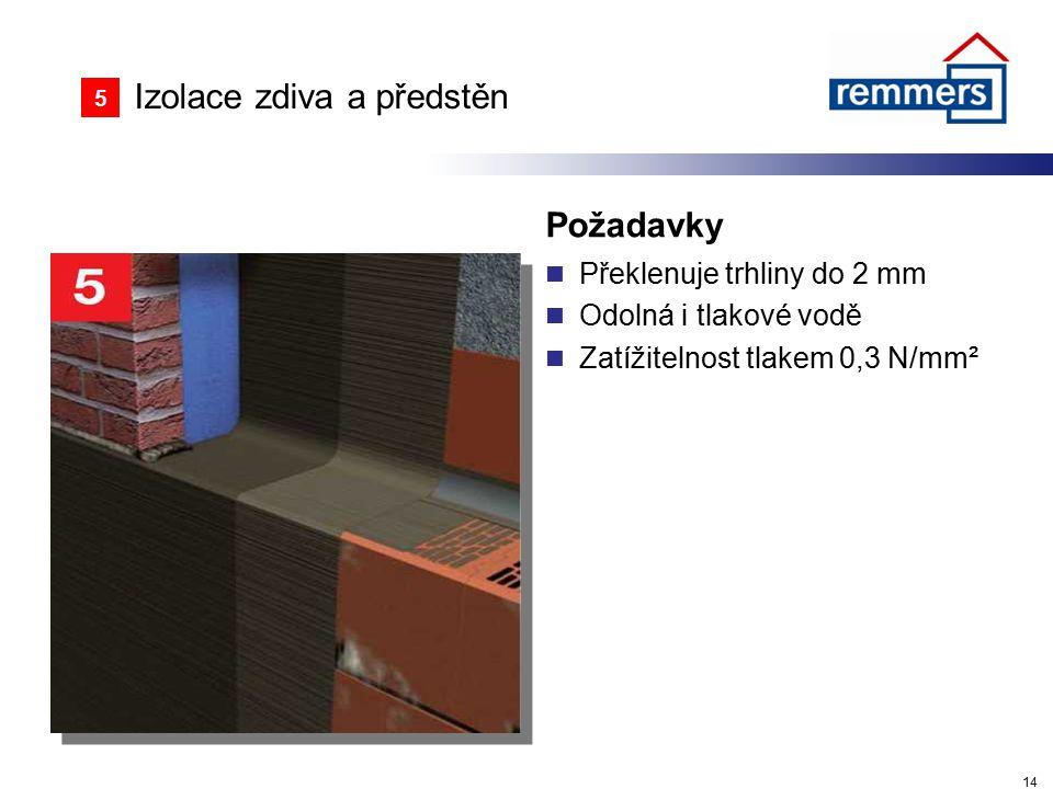 Izolace zdiva a předstěn Požadavky Překlenuje trhliny do 2 mm Odolná i tlakové vodě Zatížitelnost tlakem 0,3 N/mm² 14 5